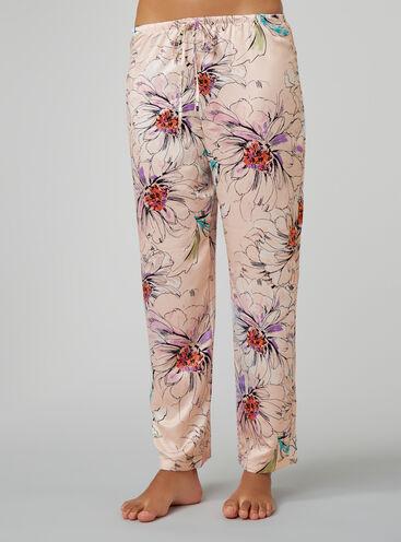 Sketchy floral satin pyjama pants