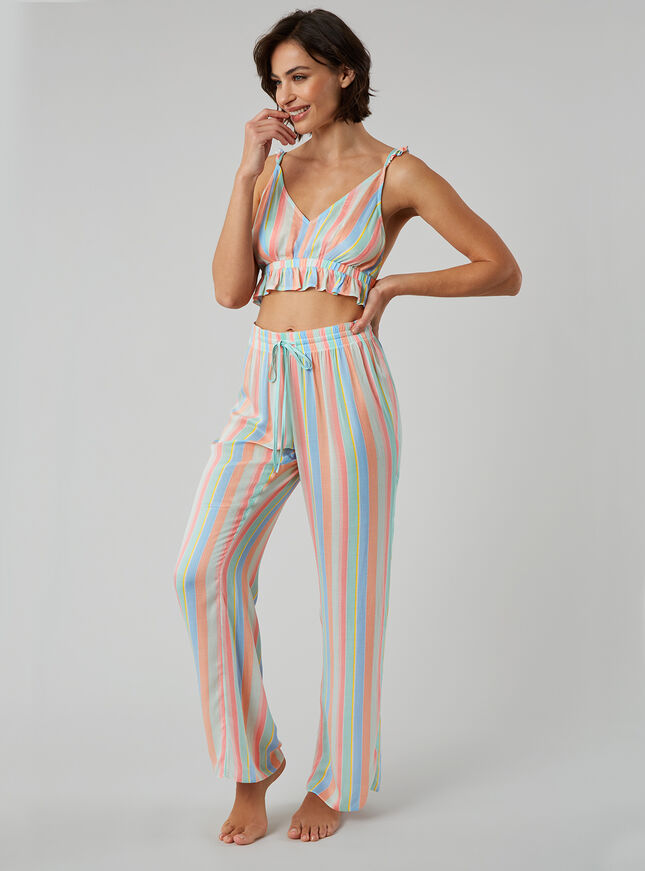 Pastel stripe bralette and pants set