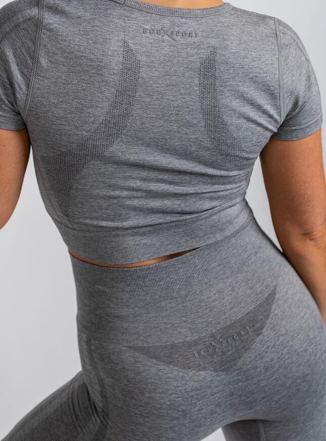 Boux Sport marl short sleeve crop top