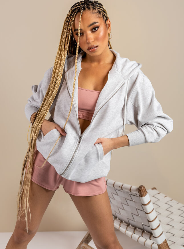 Boux Lounge longline zip through hoodie