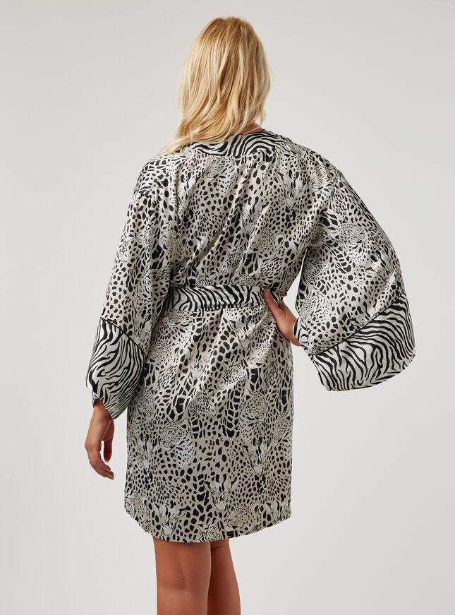 Leopard and giraffe print kimono