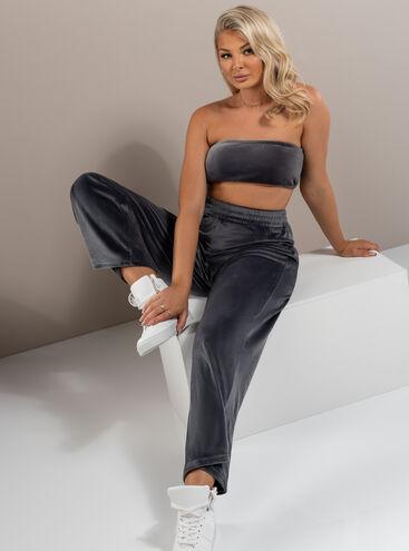 Velour lounge wide leg trousers