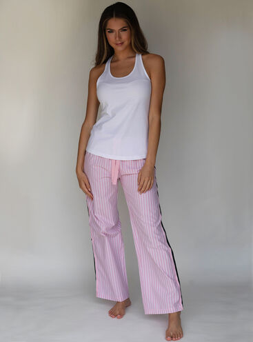 Stripe tape vest and pants pyjama set
