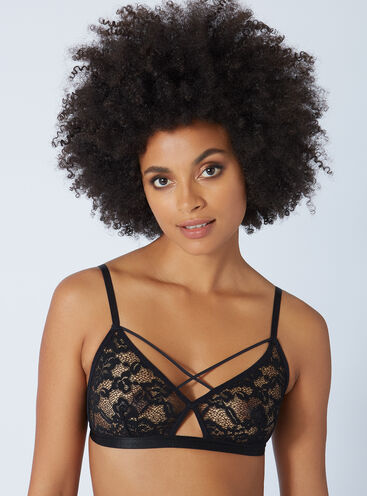 Strappy lace triangle bra