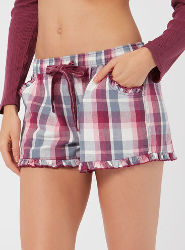 Mix & match check pyjama shorts