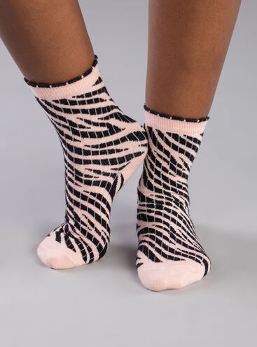 2 pack 'Go wild' zebra ankle socks