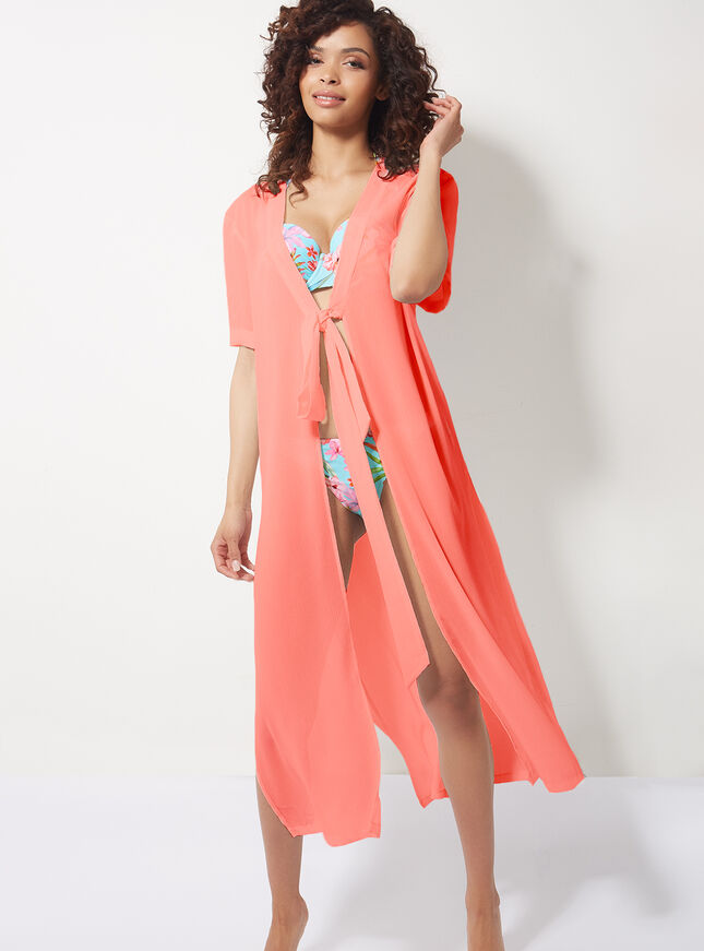 Tie front maxi cover up