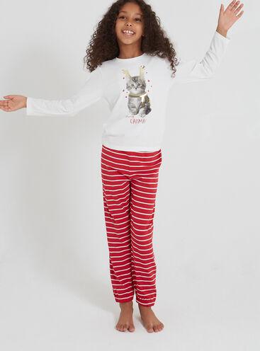 Girls merry catmas pyjama set