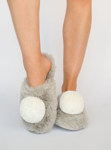 Fluffy pom mule slippers