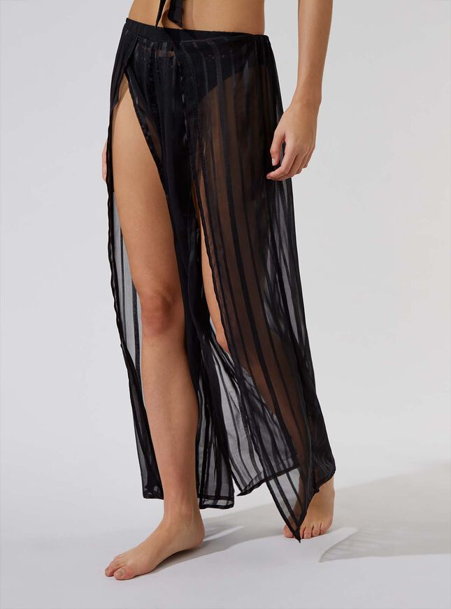 Satin stripe beach trousers