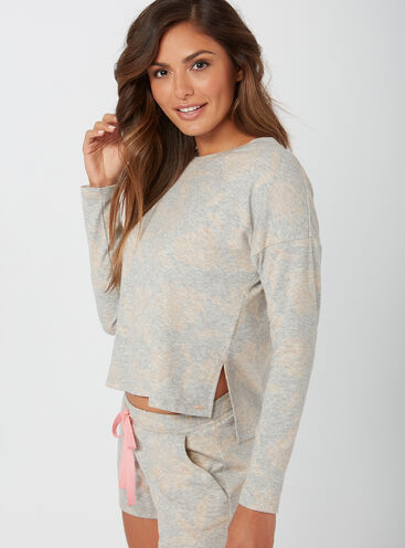 Rose jacquard boxy sweater