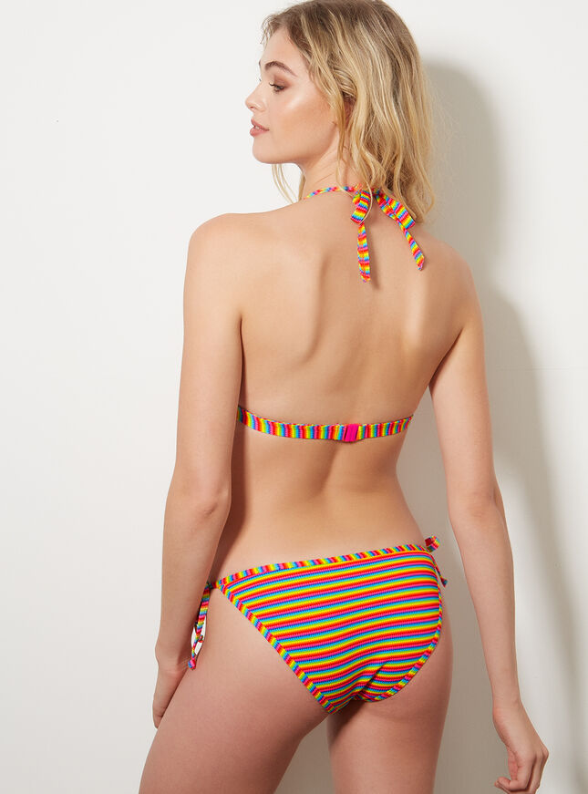 Rainbow stripe triangle bikini top