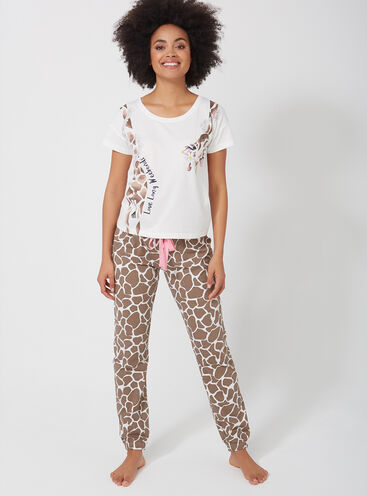 Wrap around giraffe tee and pants pyjama set