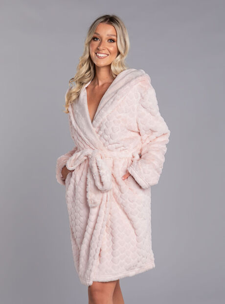 Heart fur hooded dressing gown