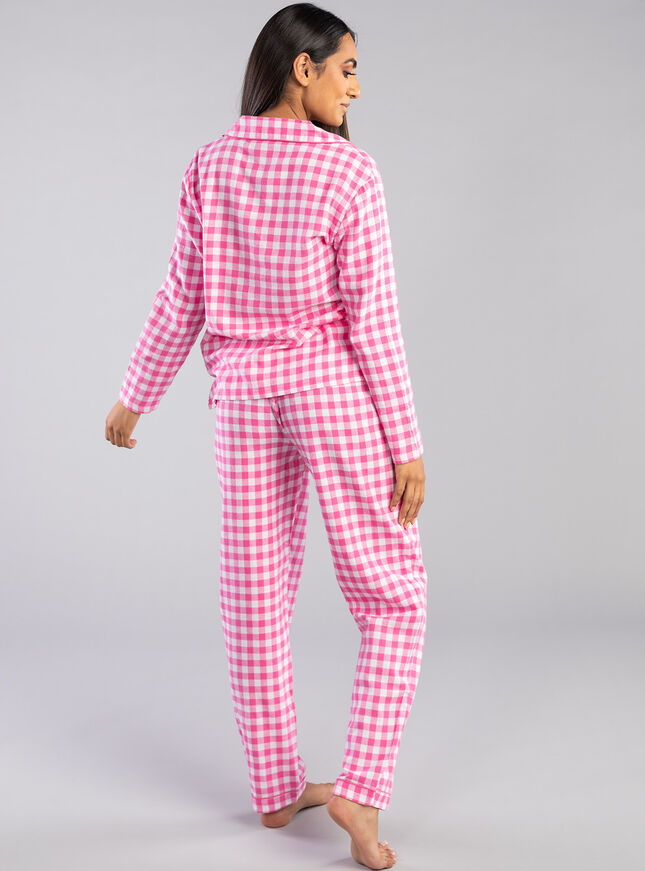 Pink gingham PJs in a bag