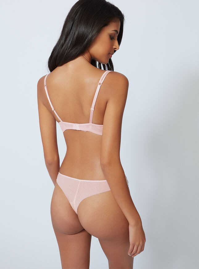 Sandy satin trim thong
