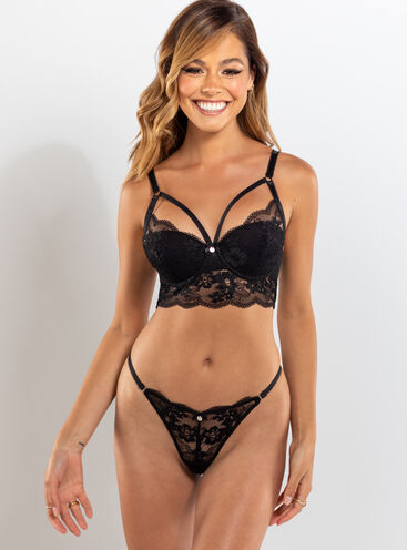 Stephanie floral lace thong