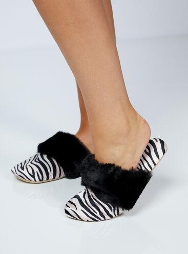 Zebra print satin slippers in a bag