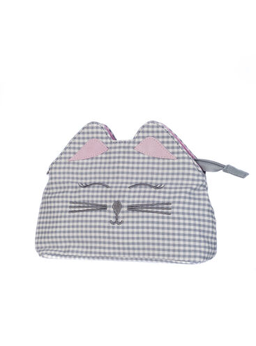 Gingham cat cosmetic bag
