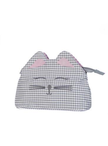 Gingham cat cosmetic bag