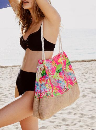Tropical floral beach bag