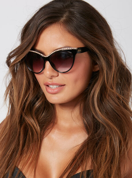 Crystal cat eye sunglasses