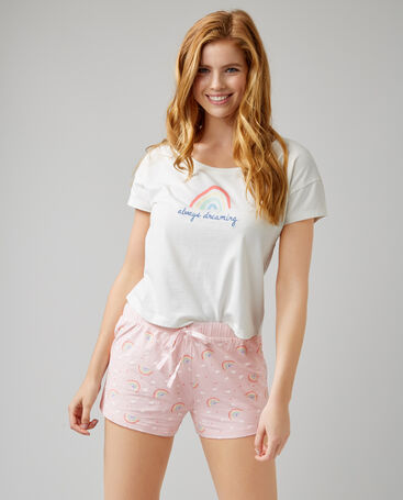 Rainbow tee and shorts pyjama set
