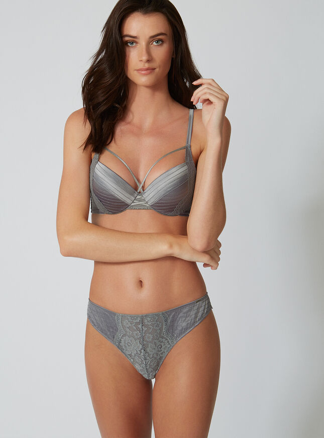 Stitched satin balconette bra