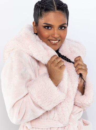 Fluffy shimmer midi dressing gown