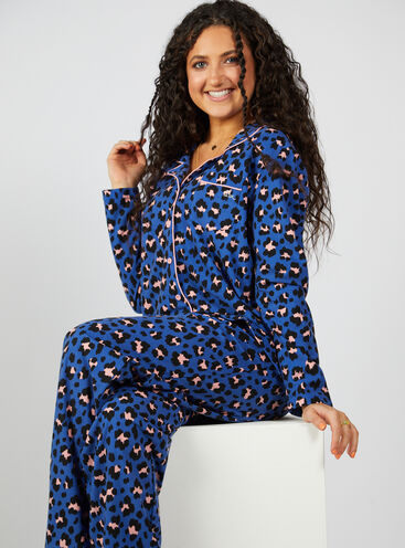Blue leopard pyjamas in a bag