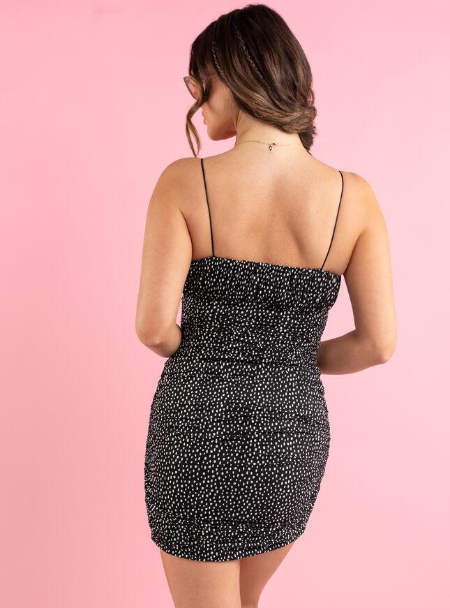 Aisha spot ruched mini dress