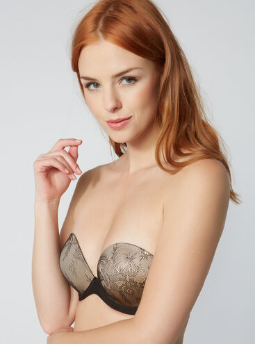 Boux lace strapless plunge bra