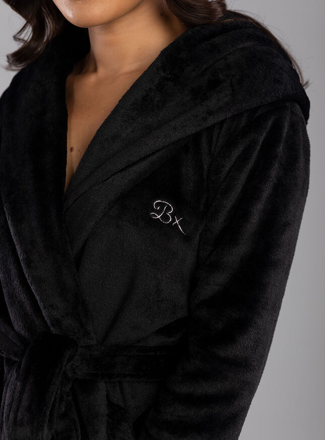 Logo hooded dressing gown