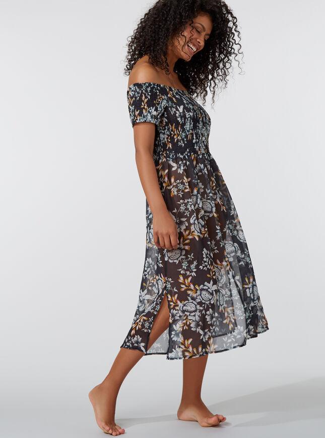 Midnight floral bardot beach dress