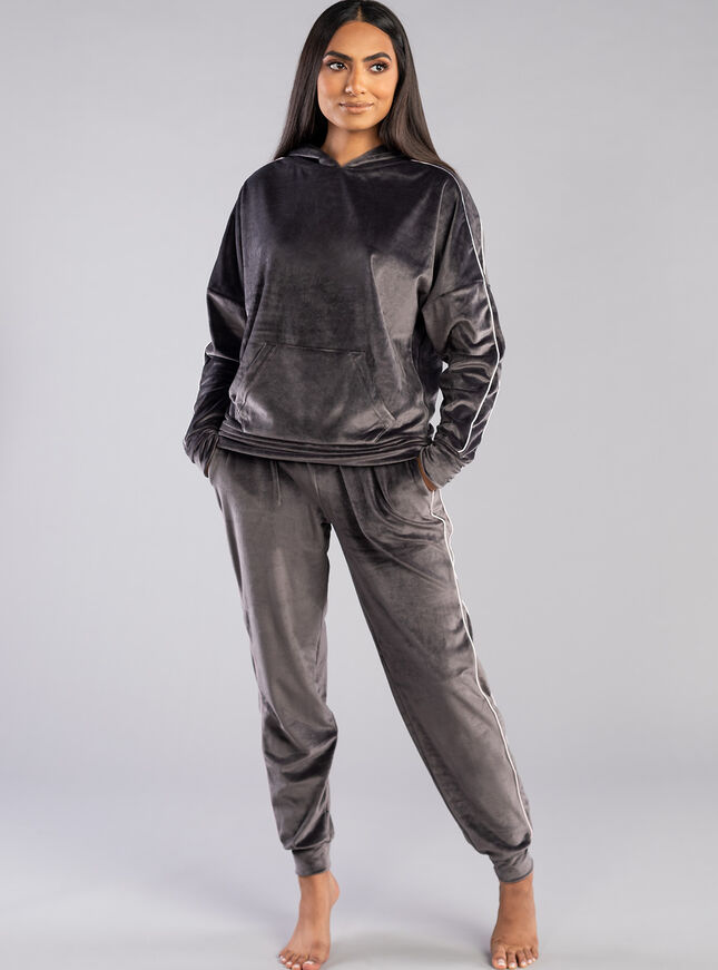 Velour piped hoody