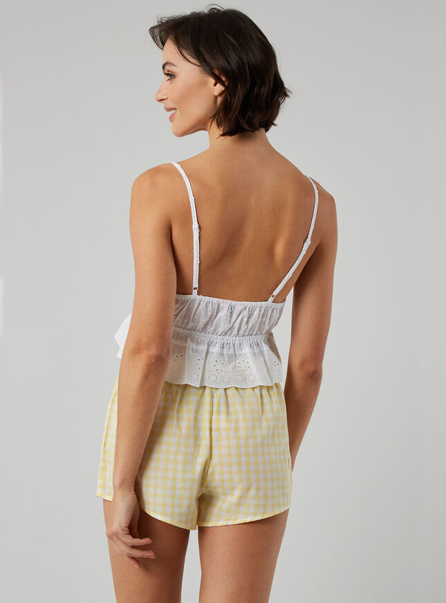Broderie and gingham cami set