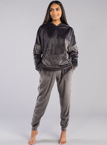 Velour piped jogger