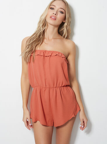Frill beach playsuit