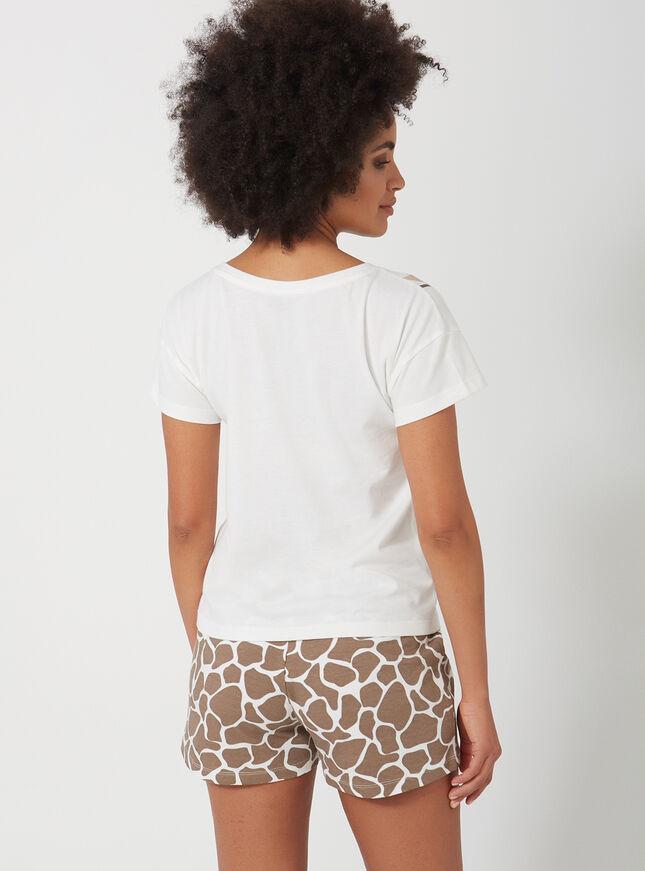 Wrap around giraffe tee and shorts pyjama set