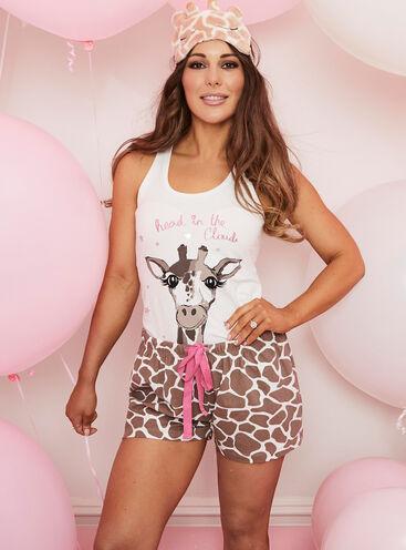 """Head in the clouds"" giraffe short pyjama set"