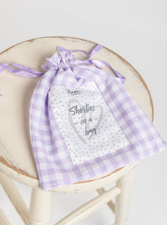 Lilac gingham shortie in a bag