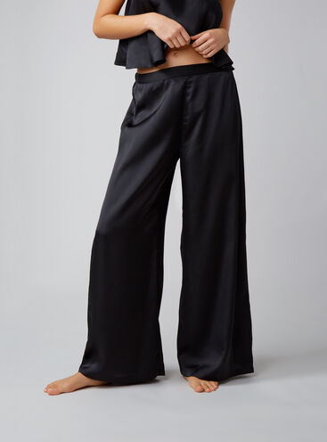 Textured satin palazzo pants