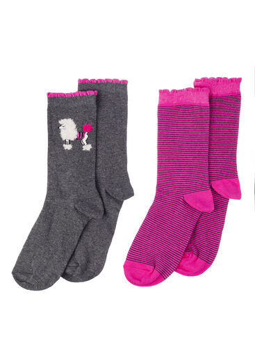 2 pack poodle and stripe socks
