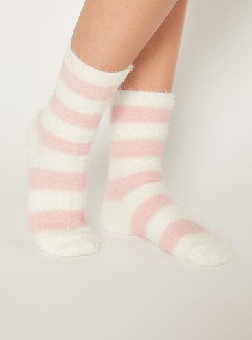 Stripey fluffy socks