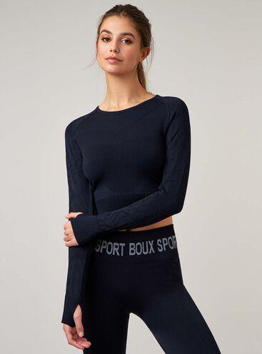 Boux Sport jacquard zebra crop top