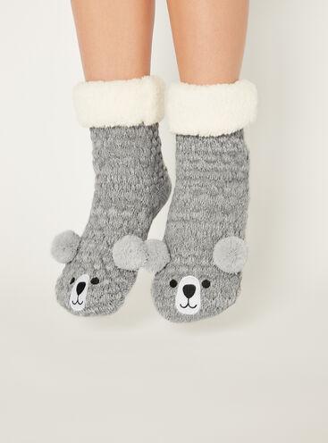 Knitted bear socks
