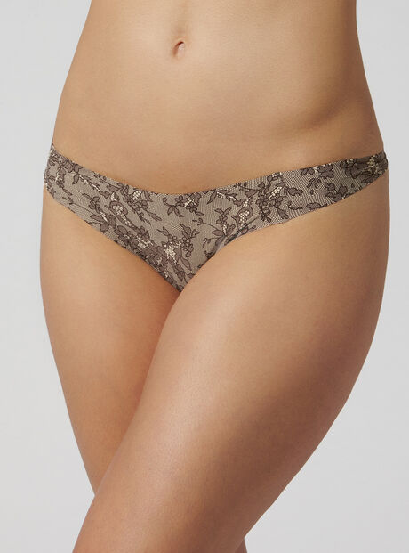 Lace print bonded thong