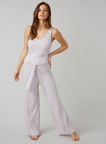 Ribbed vest and wide pants set