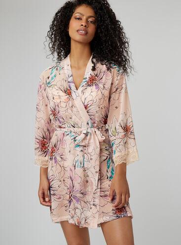 Sketchy floral chiffon robe