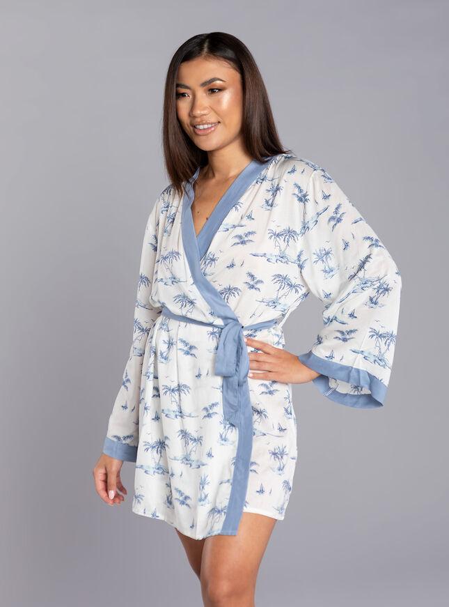 Island print kimono